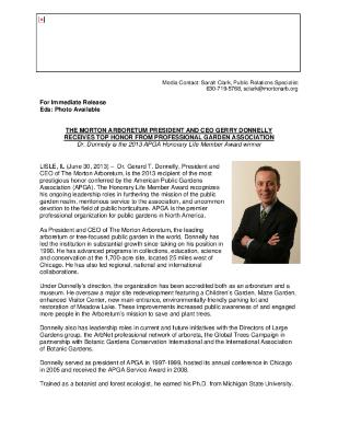 American Public Gardens Association Award, Dr. Donnelly Press Release