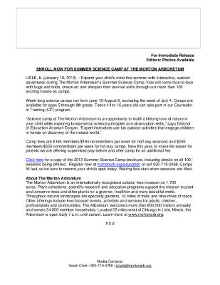 Summer Science Camps Press Release