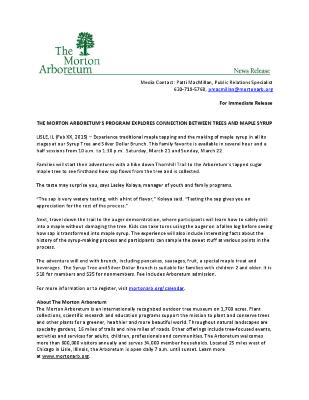 Maple Tapping Press Release