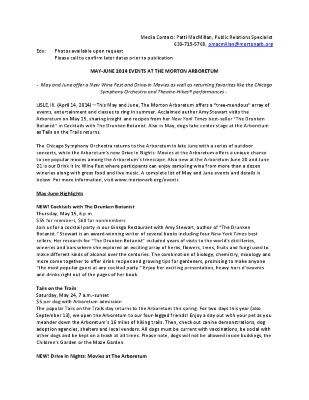 May-June 2014 Events Press Release