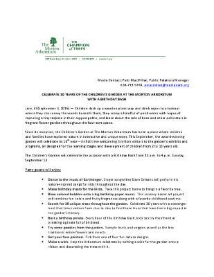 Children's Garden 10th Anniversary Press Release