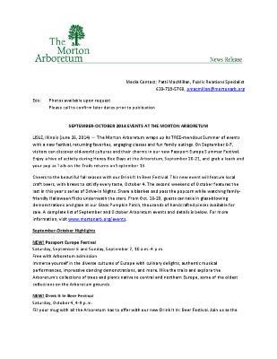 September-October 2014 Events Press Release