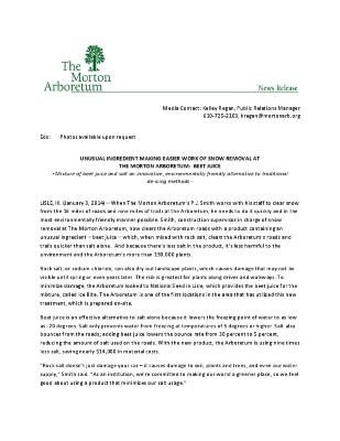 Beet Juice Snow Removal Press Release