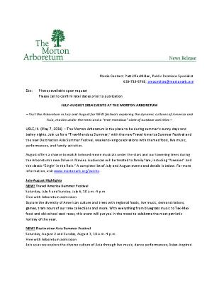 July-August 2014 Events Press Release