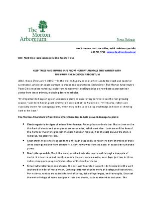 Protecting Plants from Wildlife Press Release