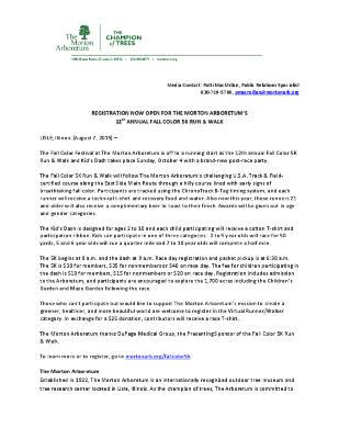 Fall Color 5K Press Release