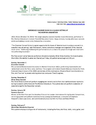 Chamber Concert Series Press Release