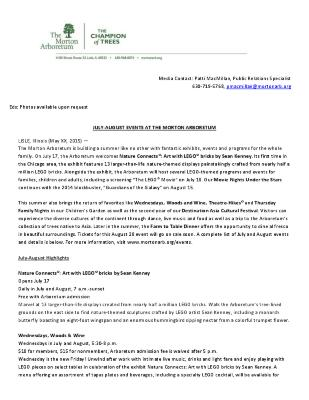 July-August 2015 Events Press Release