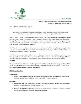 Summer Science Camp Press Release