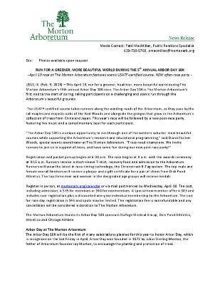 Arbor Day 10K Press Release