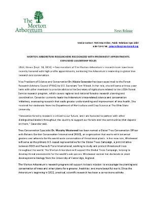 Arboretum Promotions Appointments  Press Release