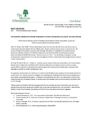Invasive Species Awareness Month Workshop Press Release