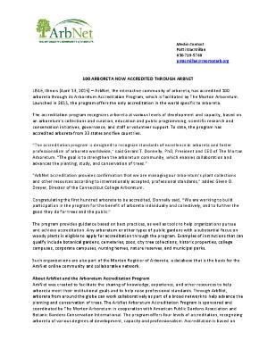 ArbNet 100 Arboreta Accredited Press Release