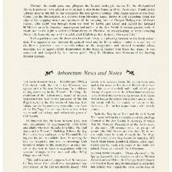 Arboretum News and Notes/ Climatological Summary