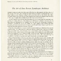 The Art of Jens Jensen, Landscape Architect