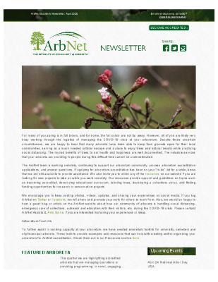 ArbNet Quarterly Newsletter, April 2020