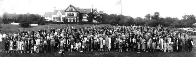 Joy Morton's 70th Birthday panorama with employees at Thornhill
