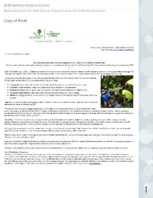 Summer Science Camp Registration Press Release