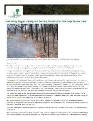 Burning May Hinder Oaks Press Release