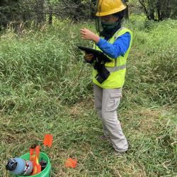 2020 Tree Census field crew taking measurements in plot 1094