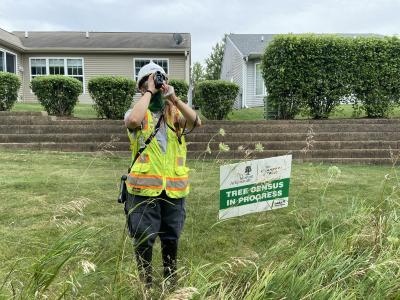 2020 Tree Census field crew taking measurements in plot 4180