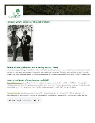 January 2021: Voices of the Arboretum