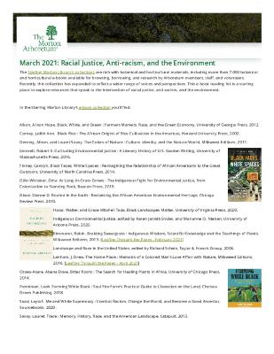 March 2021: Racial Justice, Anti-racism, and the Environment