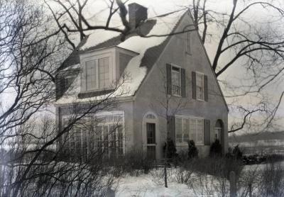 Clarence Godshalk's first Arboretum house, close exterior front view from side in winter, facing on old Joliet Road