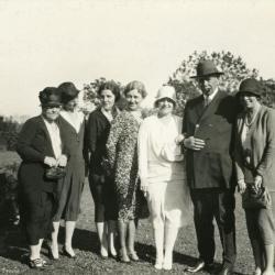 Joy Morton September 27, 1930 photo album: Joy Morton standing with group of women