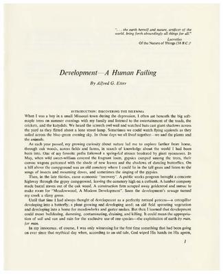 Development – A Human Failing