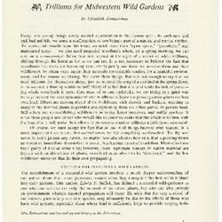 Trilliums for Midwestern Wild Gardens