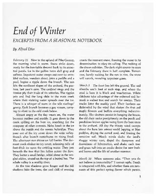 End of Winter: Excerpts from a Seasonal Notebook