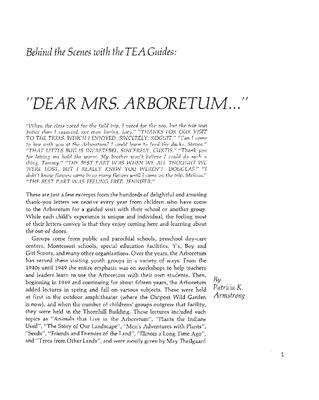 """Behind the Scenes with the TEA Guides: """"Dear Mrs. Arboretum…"""""""