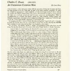 Charles C. Deam (1865-1953): An Uncommon Common Man