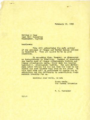 1935/02/13: E. L. Kammerer to Hiller & Sons