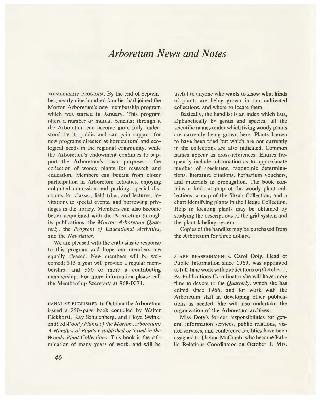 Arboretum News and Notes