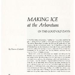Making Ice at the Arboretum (in the Good old Days)