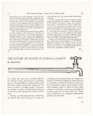 The Ecology of Water – Three Views of Man's Role