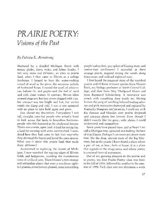 Prairie Poetry: Visions of the Past
