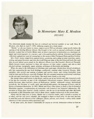 In Memoriam: Mary K. Moulton 1913-1972