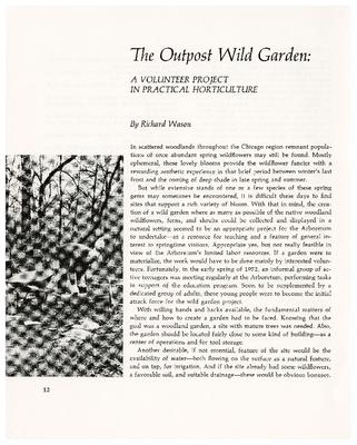 The Outpost Wild Garden: a Volunteer Project in Practical Horticulture