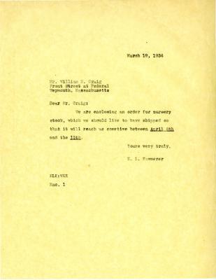 1935/03/19: E. L. Kammerer to William N. Craig