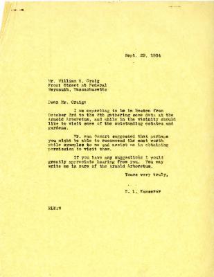 1934/09/29: E. L. Kammerer to William N. Craig