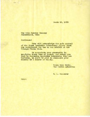 1935/03/13: E. L. Kammerer to Cole Nursery Company