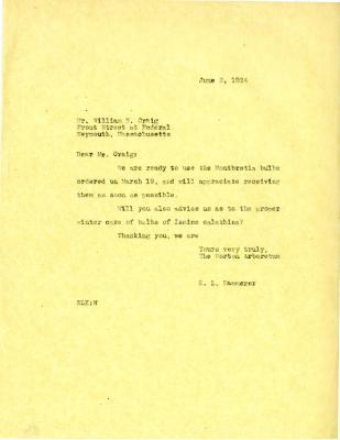 1934/06/02: E. L. Kammerer to William N. Craig