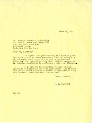 06/26/1951: E. L. Kammerer to Bernard Harkness