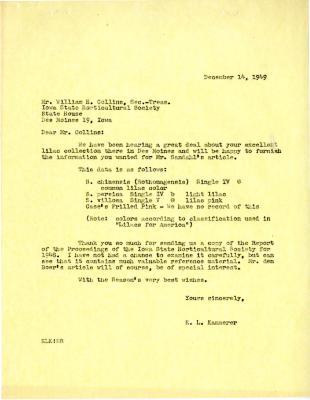 1949/12/14: E. L. Kammerer to William H. Collins