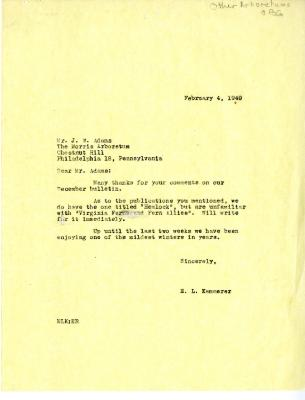 1949/02/04: E. L. Kammerer to J. W. Adams (Morris Arboretum)