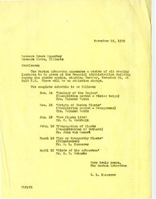 1936/11/16: E. L. Kammerer to the Downers Grove Reporter