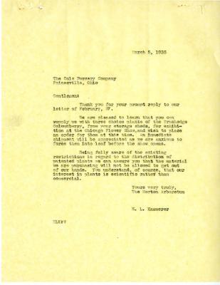 1935/03/05: E. L. Kammerer to Cole Nursery Company